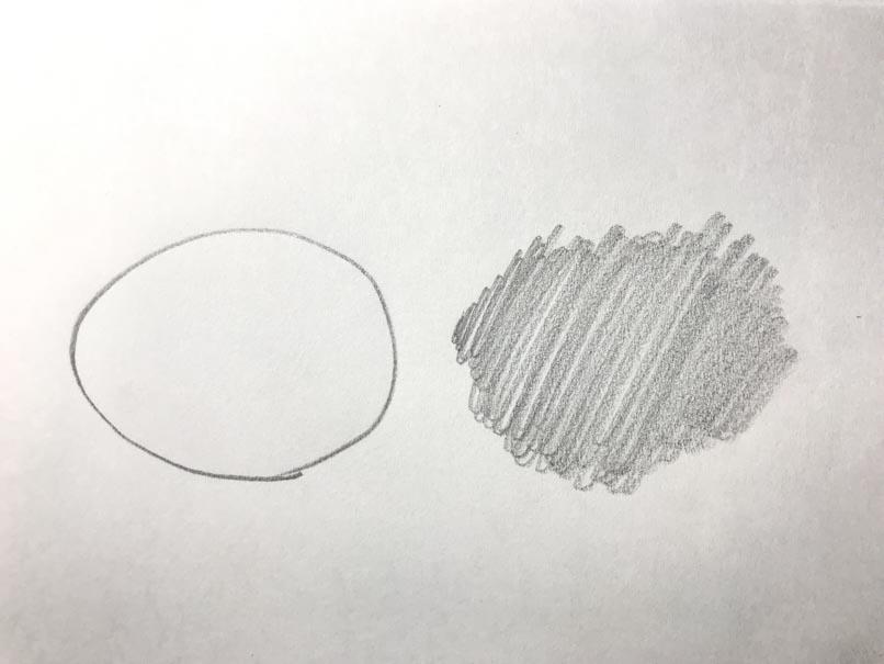 線で描いた丸と塗りで描いた丸