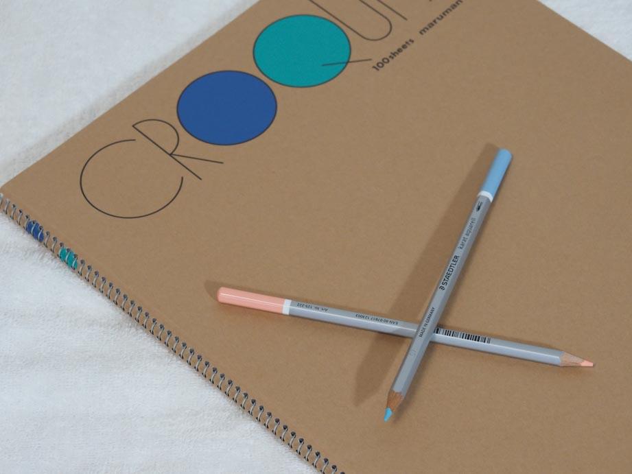 クロッキー帳と水彩色鉛筆二色買い足し。